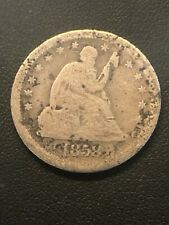 1858-S 25C Liberty Seated Quarter 90% Silver, Low Mintage, Key Date Coin