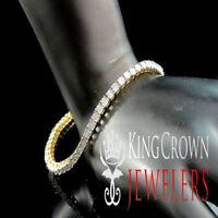 New 14k Yellow Gold Tone 0.25ct Genuine Real Diamond 1 Row Tennis Link Bracelet