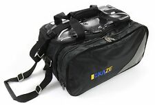 KAZE SPORTS 2-Ball Compact Bowling Roller Bag Expandable Shoe Pocket Tote Two