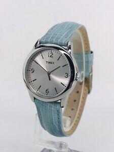Timex Watch - Silver Tone - Blue Snakeskin-like Leather - New Battery - Nice!
