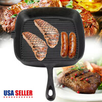 """10"""" Cast Iron Griddle Pan Pre Seasoned Skillet Cookware Stovetop Oven Broiler"""