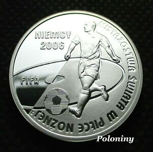 SILVER 10 ZLOTY COIN OF POLAND - 2006 FIFA WORLD CUP SOCCER GERMANY (MINT) Ag