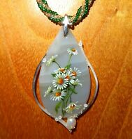 Pendant DAISY Bouquet White FLOWERS SHENSHIN Stone Shell hand painted signed