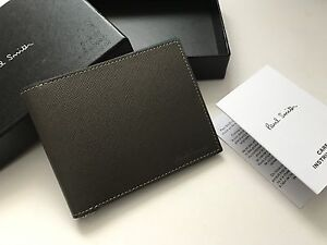 Paul Smith Money Clip Wallet 8 card Bifold Boxed Charcoal Grey