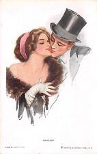 Harrison Fisher~Behave! Elegant Man in Top~Lovely Lady Off Shoulder Gown~Fur Boa