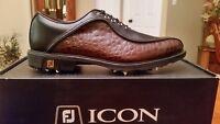 Vintage Footjoy FJ ICON Mens Golf Shoes 52161 NIB Blk/Brn Croc 10.5M BEAUTIFUL!