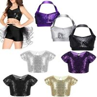Girls Kids Shiny Dance Gymnastics Crop Tops Ballet Halter Tank Bra Top Childrens