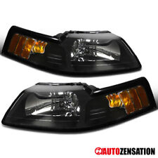 For 1999-2004 Ford Mustang Cobra Pair Black Clear Headlights Lamps Left+Right