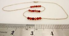 Sterling Silver Red Quartz Agate Beaded Necklace 3.9g