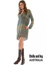 WOMENS VINTAGE BOHO SHIFT DRESS GEO SIZE 12 NEW