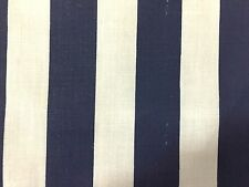 """Navy White One Inch Striped Poly Cotton Fabric - Sold By The Yard - 58"""" / 59"""""""