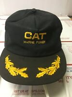 Vintage Caterpillar Cat Marine Power Snapback Hat Cap Black Gold Embroidery
