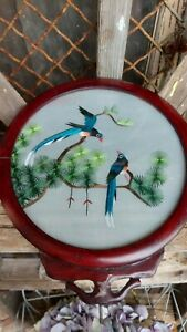 VINTAGE CHINESE DOUBLE-SIDED SILK HAND EMBROIDERED BIRD ART WOOD FRAME