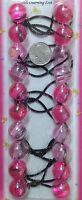 light pink ELASTIC PONYTAIL HOLDER JUMBO BEADS GIRL HAIR SCRUNCHIE KNOCKER BALLS
