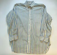 Robert Talbott Estate Bespoke Button Down Shirt Mens M White Yellow Blue Striped