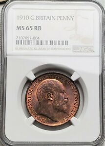 1 Penny 1910 Edward VII Great Britain Very Rare Grade MS 65RB / NGC !!!!!!