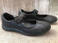 ECCO Women's Size 38 EU 7 - 7.5 US Babett  Black Leather Mary Jane Flats Shoes