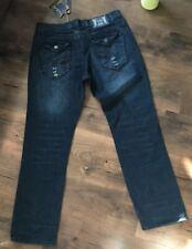 Fusai Men's Dark Distressed Denim Jeans 38x34