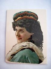 Gorgeous Victorian Die-Cut of Woman Profile Wearing Fur Trimmed Dress *