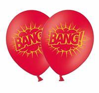 """Superhero 'Bang' 12"""" Red Printed Latex Balloons By Party Decor 6 ct"""