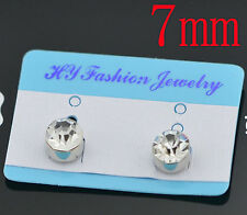 7mm Clear Magnetic Clip On Cubic Zirconia Stud Earring Birthday Gift Girls Men