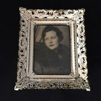 "Vintage Ornate Metal Picture Frame 5½"" x 4½"" Photo Hollywood Regency Antiqued"
