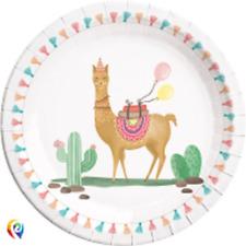 Party Llama Cactus Alpaca Cute Celebration Large Lunch Plates (8)