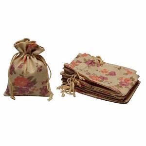 Natural Jute Linen Floral Potlis Burlap Diwali Gift Pouches Bags -10Pack
