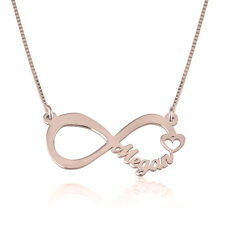 Rose Gold Infinity Necklace With Name and Heart - Personalized Pendant & Chain