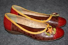 Via Veneto Leather Shoes Red Brown Leather Flats Size 10 Women's Hand Painted