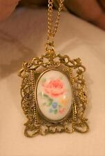 Swirl Goldtne Picture Frame Pink Yellow Floral Bouquet Cameo Pendant Necklace