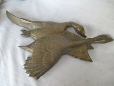 Large SOLID BRASS PLAQUE - Flying Geese / Canada Goose