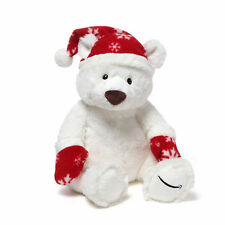 "Gund Christmas 12"" Plush white Bear with Santa's Hat limited edition!"