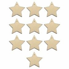 10 X Wooden Star Shapes Plain Wood Craft Tags With Hole (10cm) B3p1