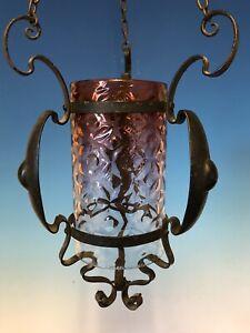 Arts And Crafts / Art Nouveau Pendant Light / Lamp With Original Cranberry Glass
