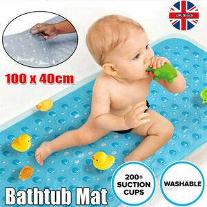 Extra Long Anti Non Slip Bath Shower Mat PVC Bathroom Mat Rubber Strong Suction