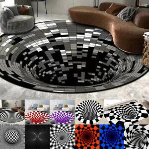 3D printed Round Vortex Illusion Pattern Anti-slip Carpet Floor Mat Door Mats