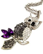 """Gorgeous Owl Pendant Necklace 30"""" Chain Gray Purple Amethyst Crystals Gift Boxed"""