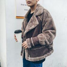Fashion Men Faux Mink Fur Suede Fluff Lining Motorcycle Winter Warm Jacket Coat
