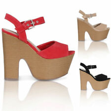 Block Heel Peep Toes Synthetic Casual Heels for Women