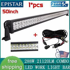 50 inch 288W Straight LED Light BAR WORK LIGHTS 4WD OFFROAD DRIVING LAMP+Harness