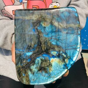 9.52LB Natural Labrador moonstone quartz crystal free form mineral specimen 42