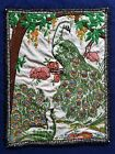 Vintage Embroidered Hand Sewn Cloth Linen Tapestry Peacocks Ready for Framing