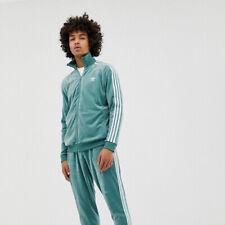 🔥RARE Men's ADIDAS ORIGINALS Cozy Full Zip Soft Velour Track Top L Mint Green