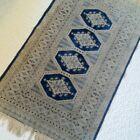 """Vintage Woven Ivory Navy Blue Fringe Rectangle Throw Rug 25x43"""" BOHO Decor Shabb"""