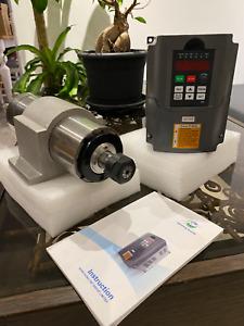 Huanyang 2.2kW ER20 80mm Water Cooling Spindle Motor + Inverter VFD Drive CNC