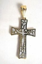 Struttura Mens Gold Overlay Stainless Steel Two-Tone Crucifix Filigree Pendant