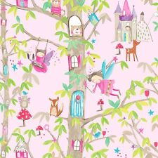 PINK GIRLS GLITTER WOODLAND ANIMALS FAIRIES QUALITY ARTHOUSE WALLPAPER 667000