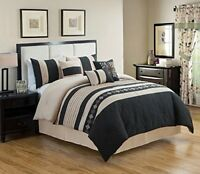 DCP 7 Piece Luxury Embroidery Bed in Bag Microfiber Comforter Set Black Cal King