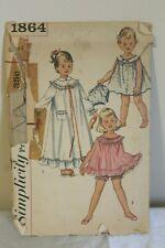Vintage 1956 Simplicity Sewing Pattern 1864 Girls Nightgown Panties Sz 2